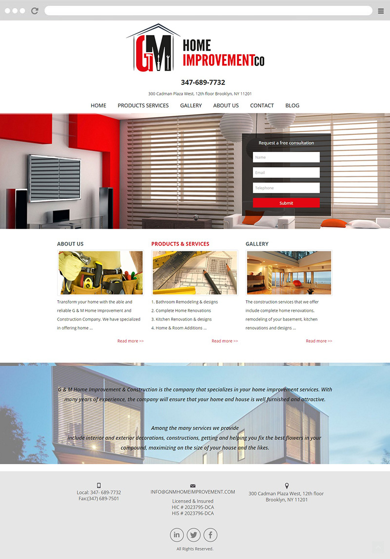 Gnm Home Improvement Web Design And Development Top